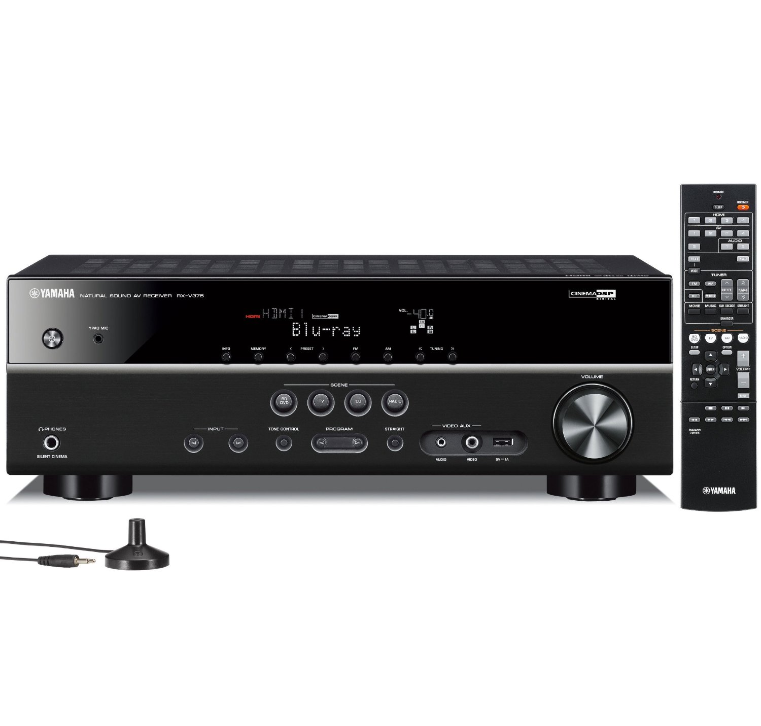 Yamaha RX-V375-R 5.1-Channel Factory Refurbished 3D A-V Home Theater Receiver