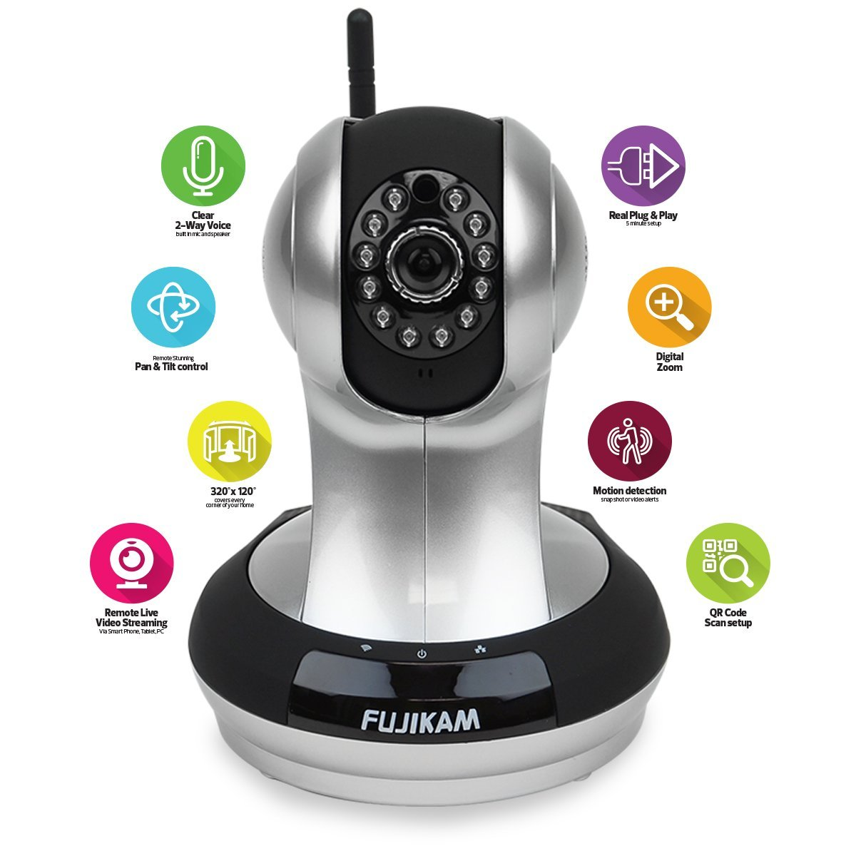 Fujikam FI-361 HD, Wifi, Video Monitoring, Surveillance, security camera