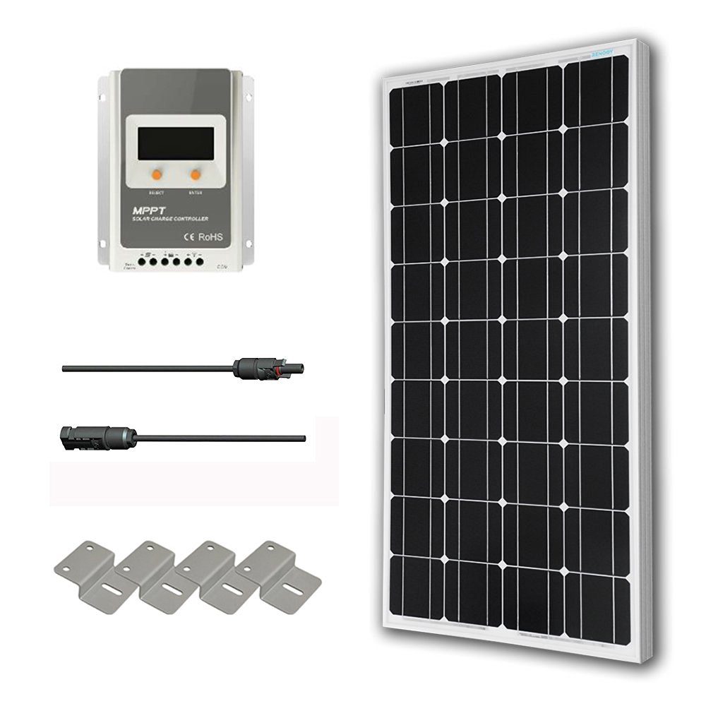 Hqst 100 Watt 12 Volt Monocrystalline Solar Panel Kit With