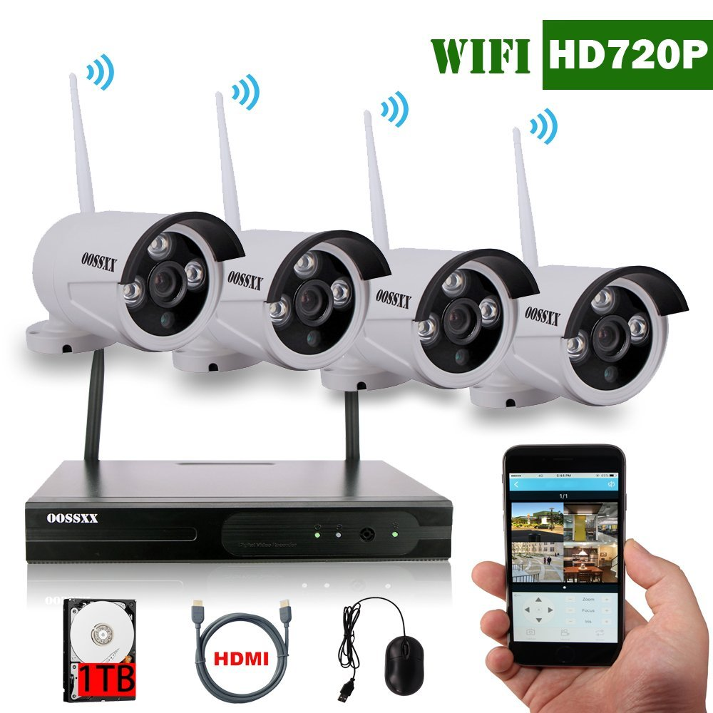 OOSSXX Wireless IP Security Cameras, 4*720P 80ft IR With