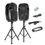 Pyle Dual 12-Inch Powered Speakers With Stand and Mic