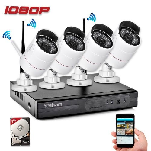 Yeskam Security Camera System 1080P Wireless IP Cameras